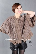 2016 new Women's fur vest cardigan rabbit wool knitted ruffle cape 25% off