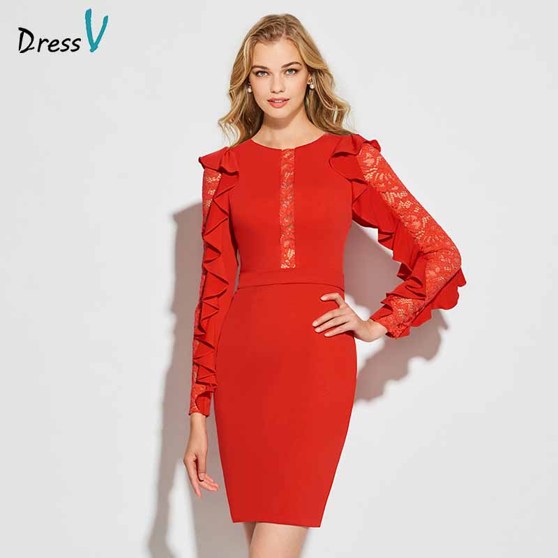 Dressv red sheath lace cocktail dress elegant ruffles long sleeves short mini wedding party formal dress cocktail dresses