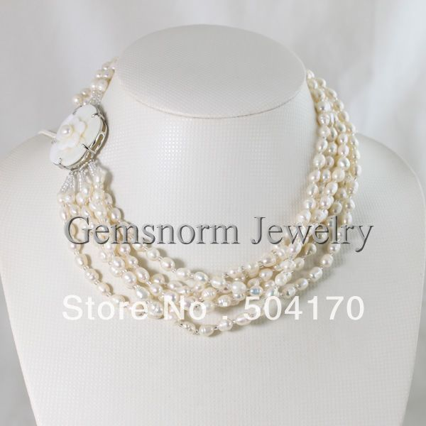 Promotion! 6 Rows Natural Freshwater Rice Pearl Necklace With Pretty Shell Flower Clasp Free Shipping FP056