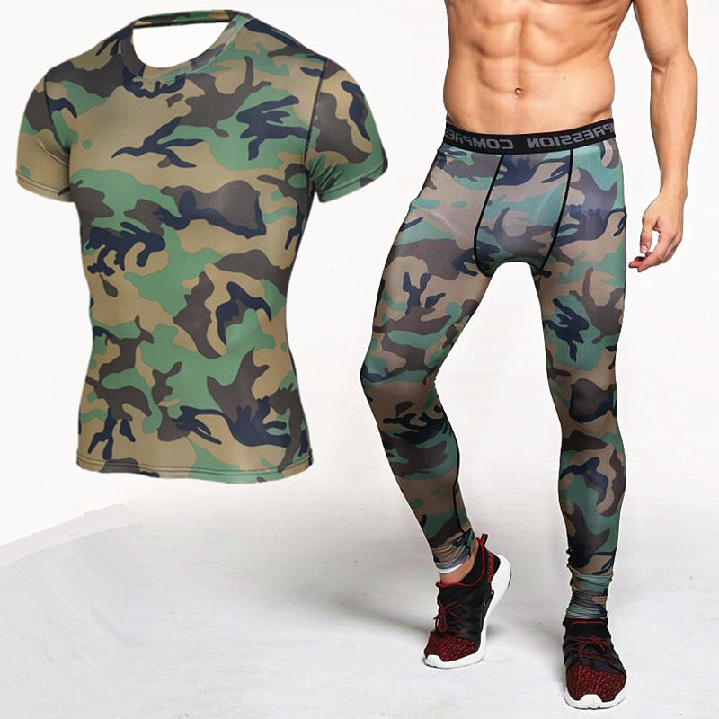 Findci Mens Sets Bodybuilding Camouflage Compression Shirts and Leggings Crossfit Exercise Workout Skin Tight T Shirt