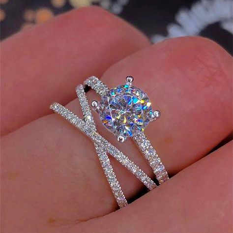 Luxury Female Round Zircon Ring Fashion 925 Silver Bridal Wedding Ring Jewelry Promise Engagement Rings For Women