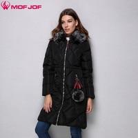 Women Winter Jacket Quilted Rhombus Hooded Coat Medium Length Female Outerwear Webbing Zipper Pompon Pendants Thinsulate