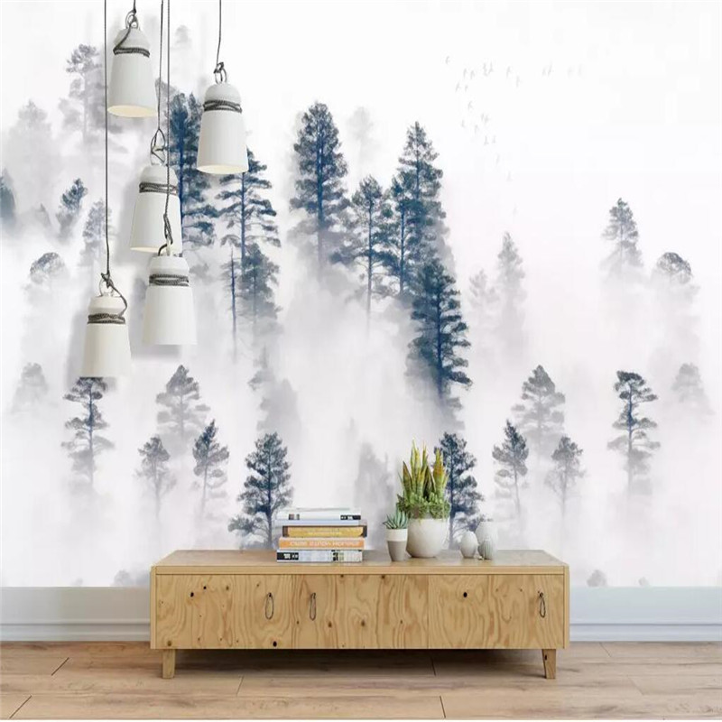 Creative wallpaper Nordic minimalist atmosphere background fog forest professional custom mural photo wallpaper in Wallpapers from Home Improvement