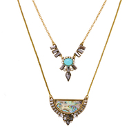 New Fashion Trending Ladies Collar Necklace Geometric Pendant Blue Layered Necklace Factory Direct Sale