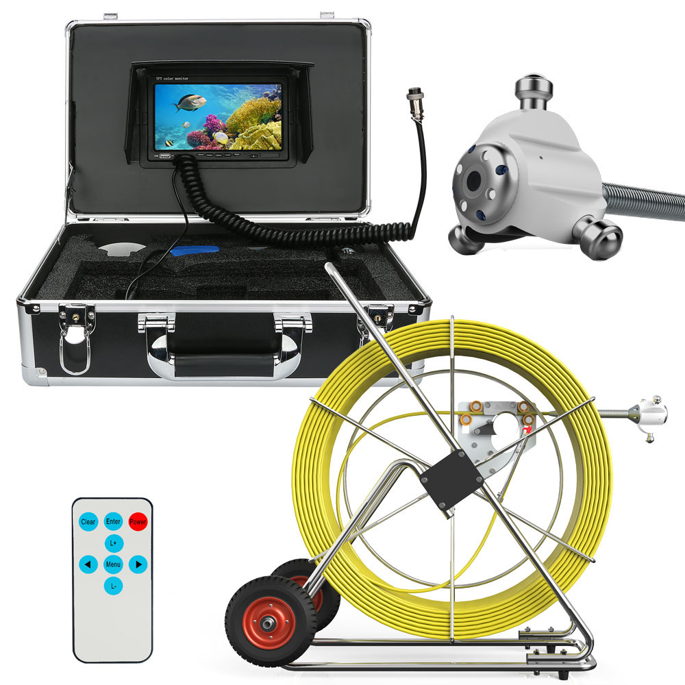 80 м канализационные Водонепроницаемый Камера трубы сливного трубопровода inspection Системы 7 ЖК дисплей DVR HD 1000tvl