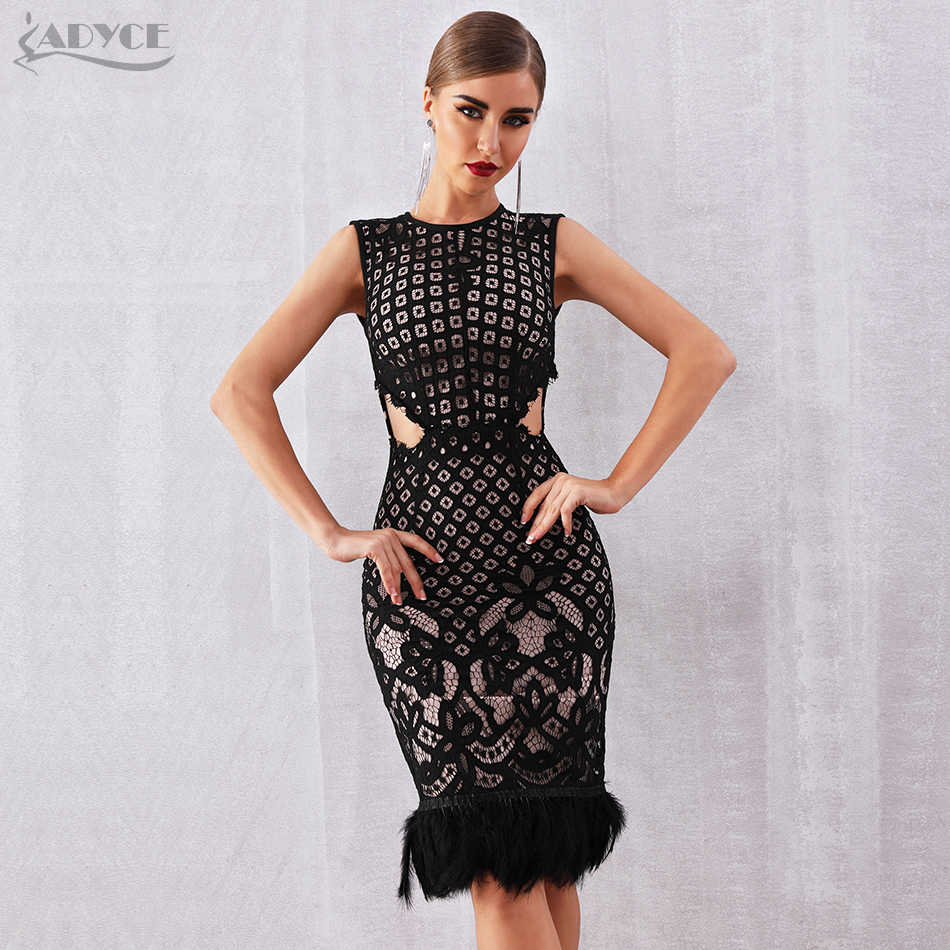 95f7674afb4 Detail Feedback Questions about Adyce 2019 New Summer Bandage Dress Women  Elegant Black Sleeveless Sexy Feather Bodycon Club Lace Dress Celebrity  Party ...