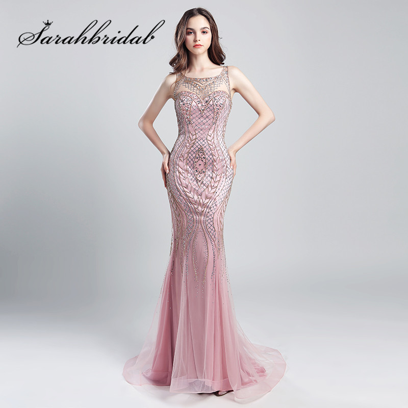 d380707d70a3b Mermaid Long Evening Dresses Sexy Back Stunning Rhinestone Fashion Women  Prom Celebrity Gowns Long Robe de Soiree CC029
