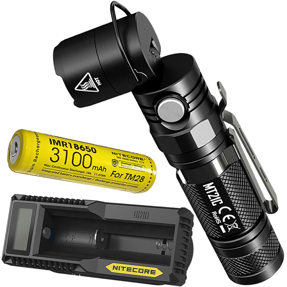 NITECORE MT21C 1000 Lumens LED Flashlight with 18650 Battery UM10 LCD USB Charger Multi functional Outdoor Camping Hunting Torch