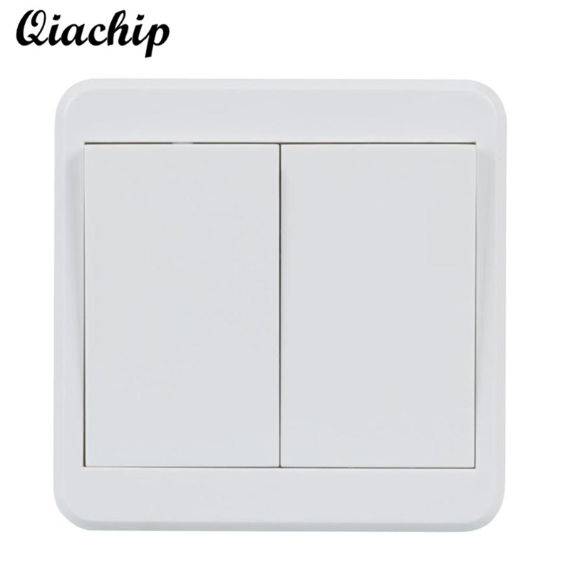 QIACHIP 86 Wall 433mhz 2 CH Button Wireless Power Remote Control Switch Transmitter RF Relay Receiver Smart Home Lamp Light LED qiachip 433mhz 86 wall switch 2 button remote control switch wireless transmitter switch room for smart home lamp light led bulb