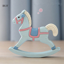 BUF Modern Europe Style Trojan Horse Statue Candy Colors Lovely Horse Retro Home Decoration Accessories Rocking Horse Ornament