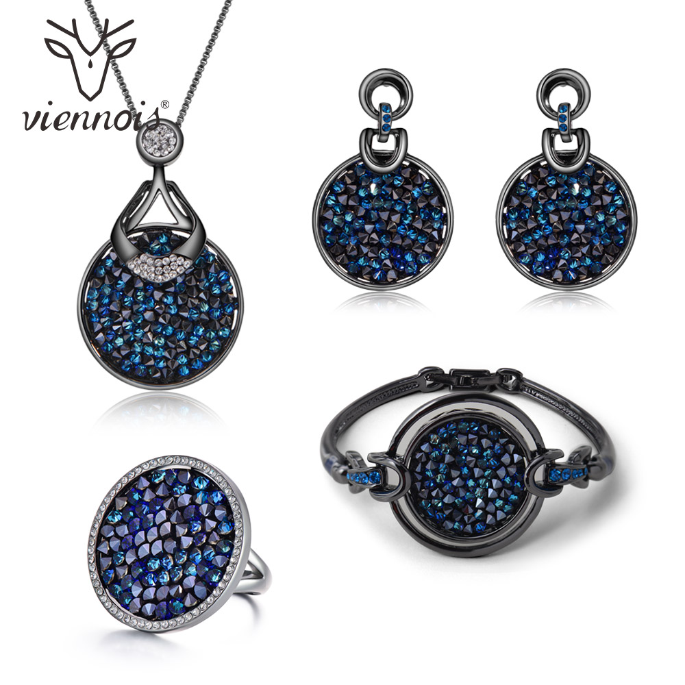 Viennois Blue Crystal From Women Jewelry Sets Fashion Rhinestone Pendant Earrings Ring Bracelet and Necklace Sets For Women a suit of gorgeous rhinestone faux sapphire necklace bracelet ring and earrings for women
