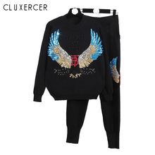 2019 Tracksuit For Women Two Piece Set Chandal Mujer Winter Suit Fashion Beading Loose Casual Sports