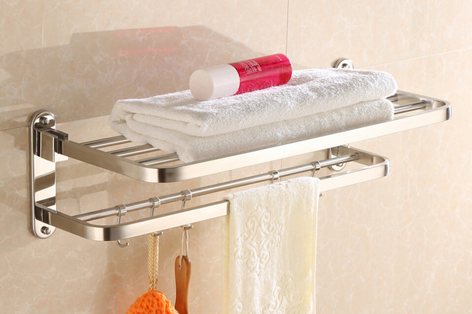 все цены на Free shipping Stainless Steel mirror surface Towel Rack Bathroom Pendant can 90 Degree Rotation Folding double towel bar SM098