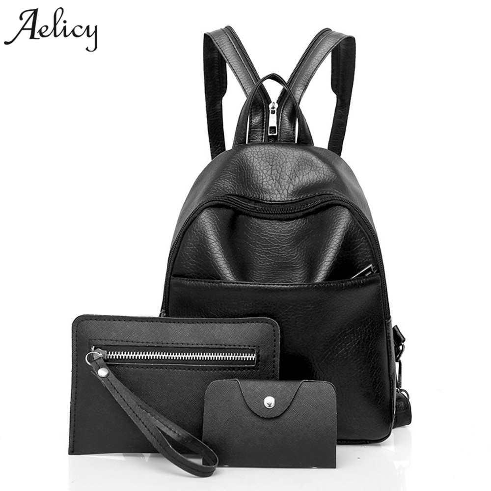 Aelicy 3 Sets Backpack Women Fashion Composite Bag PU Leather Backpack Women School Backpacks For Teenage Girls Mochila Masculin joypessie composite women backpack pu leather backpack for teenage girls female school backpack with shoulder purse