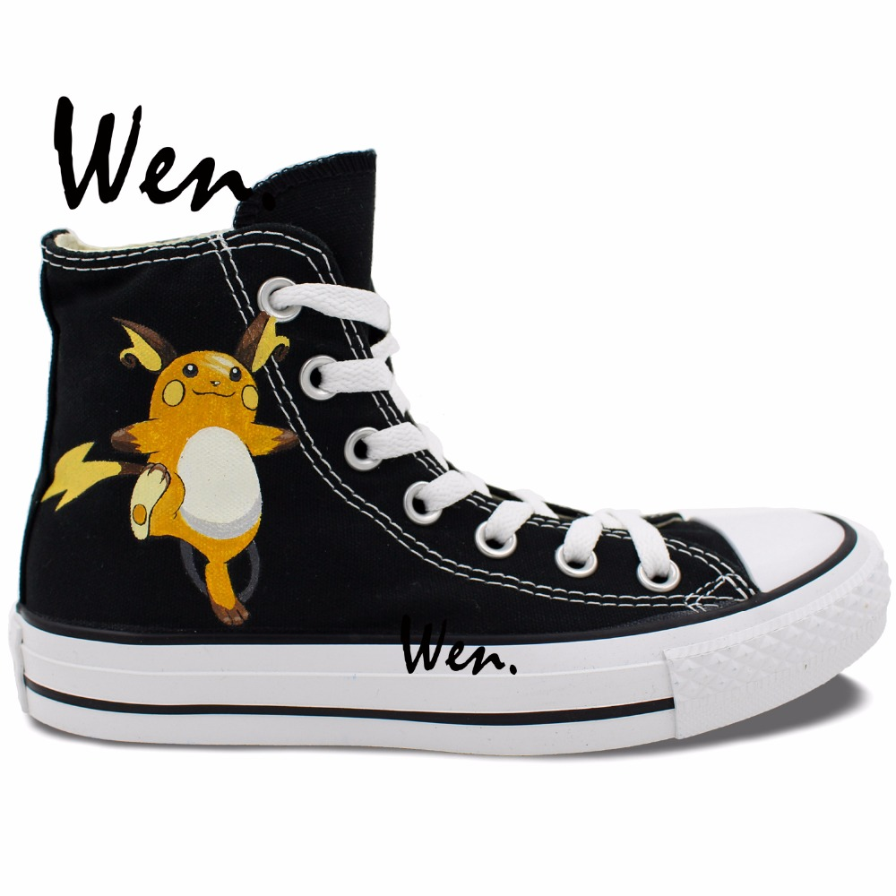 Wen Anime Hand Painted Shoes Pokemon Raichu Pocket Monster Men Women's Black High Top Canvas Sneakers Christmas Gifts wen original hand painted canvas shoes space galaxy tardis doctor who man woman s high top canvas sneakers girls boys gifts