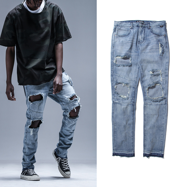 2018 Mode Blue Jeans Hip Hop Jalan Pria Celana Jumpsuit Jeans