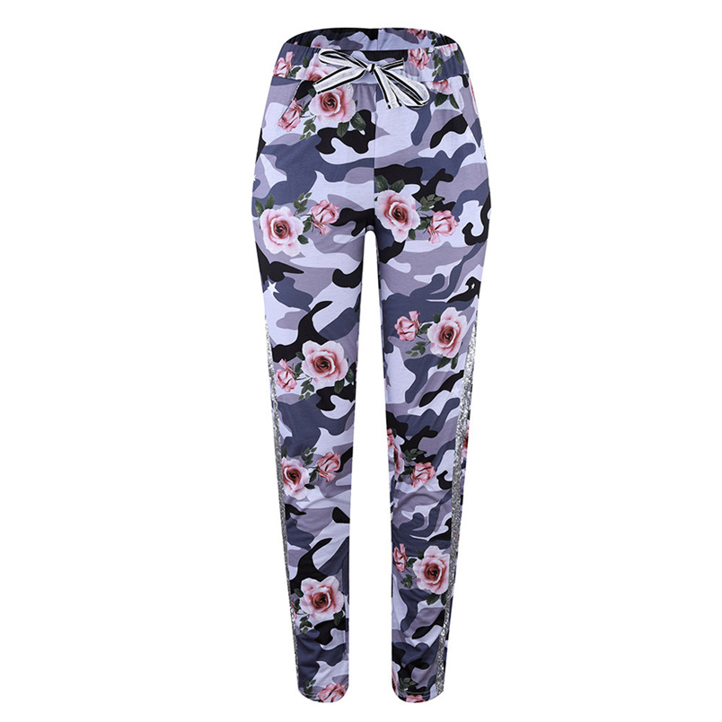 Fashion Womens Pants 2018 New Arrival Comfortable Sequins Camouflage Print Bandage Patchwork Mid Waist Long Pants Trousers F#J12 (17)