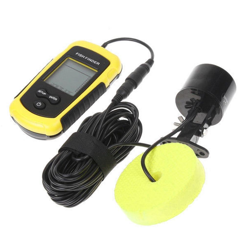 100M Depth Portable Fish Finder LCD Sonar Sensor Alarm Transducer Fishfinder portable waterproof 200khz sonar lcd fish finder green background light max 100m range 40 degree angle detector cam transducer