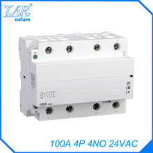 AC Contactor Modular Household 4 for Automobile Charging Pile 4no/100a 24V