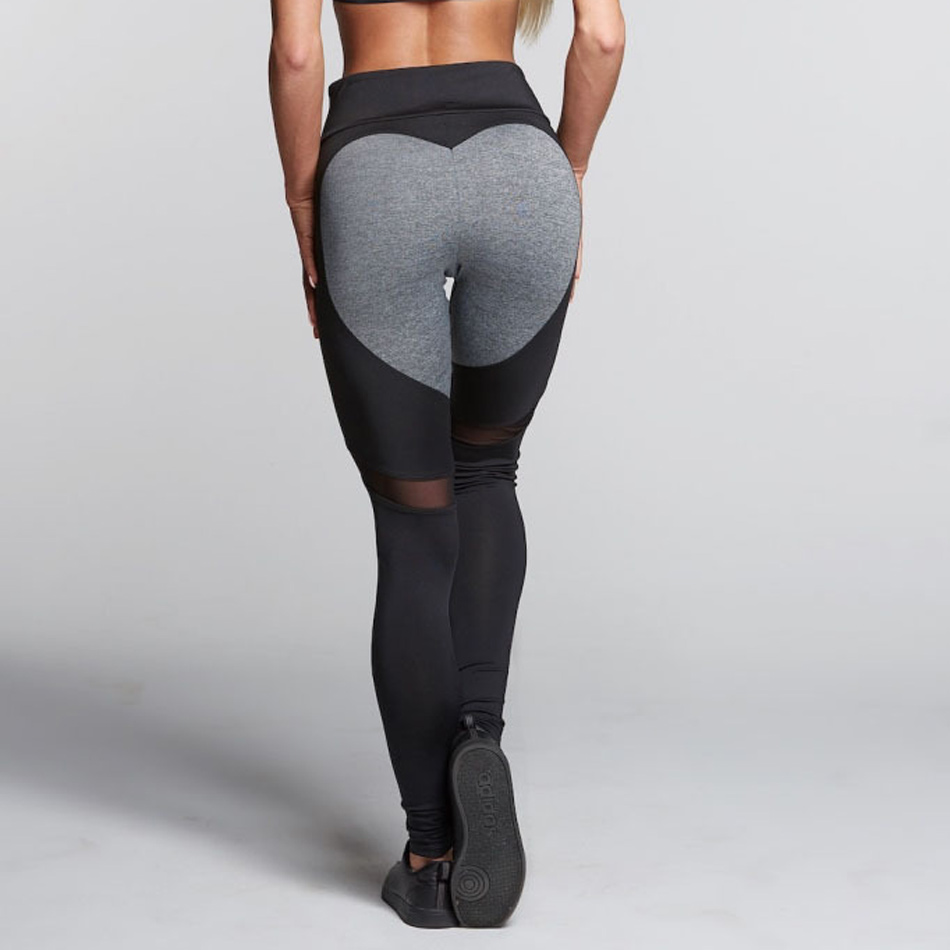Push Up Heart Booty Sexy Yoga Leggings Women Fitness Mesh -5742