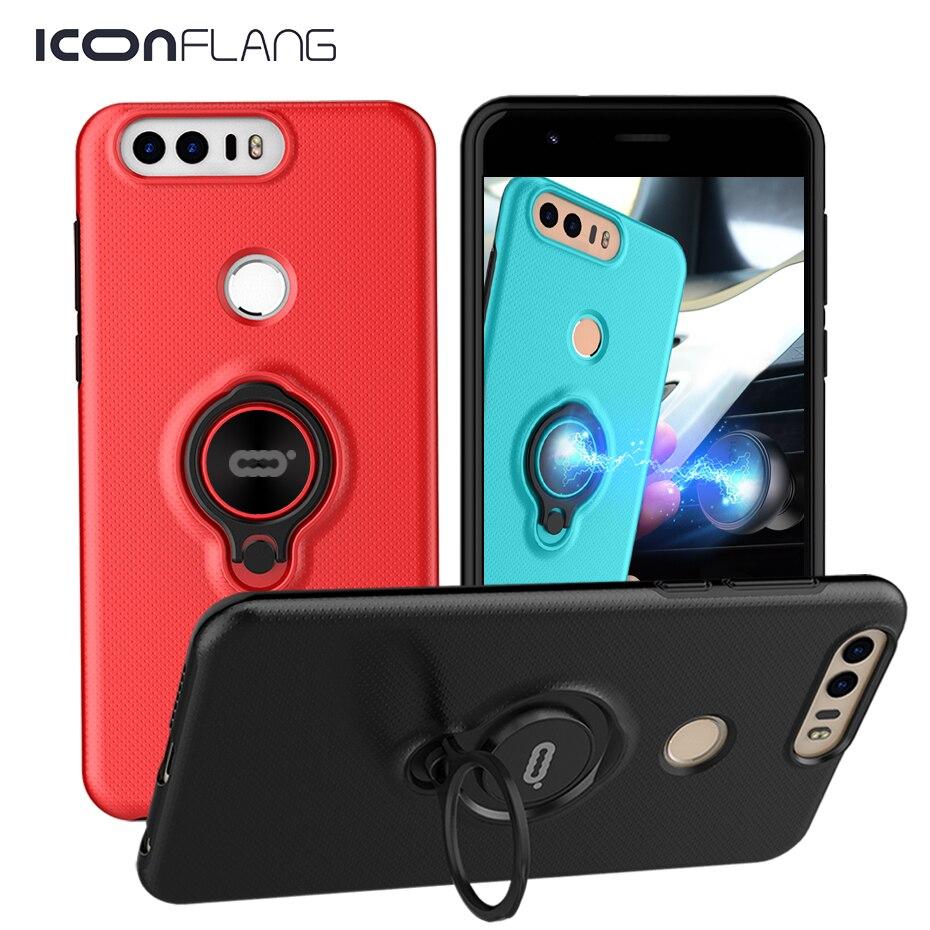 Luxus Rüstung Stoßfest Fall Für Huawei honor 8 Telefon Fall Zurück Abdeckung Für Huawei honor 8 Magnetische Ring Halter Fall 5,7