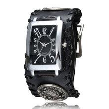 Moda Lobo Staly Funk Rock Gótico de Cuero Negro Cuarzo de la Venda reloj Rectángulo Marcado Reloj de Juego de Tronos Lobo Colgante de Los Hombres regalo