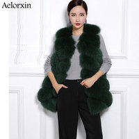 Aelorxin Leather Imitation Fox Fur Women Vest Fur Vest Female Outerwear Women Fur Waistcoat Winter Warmer S 3XL