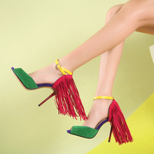 Onlymaker Sex Woman Fringe 10cm High heel Sandals Peep Toe Red Yellow Green Big Size 15 Wedding Party Dance Shoes