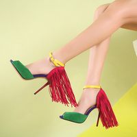 Onlymaker Sex Woman Fringe 10cm High heel Sandals Peep Toe Red Yellow Green Sandals Big Size 15 Wedding Party Dance Shoes