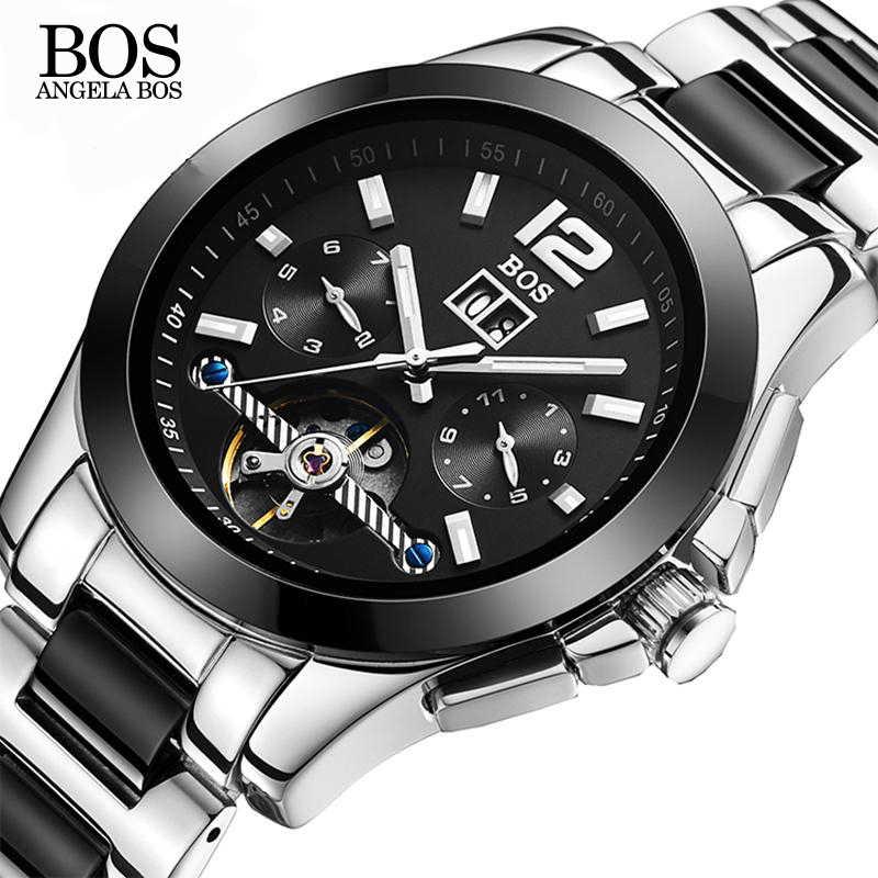 c5a7933b50aa Анжела BOS Керамика нержавеющая сталь Скелет автоматические часы для мужчин  s механические водостойкие Дата Неделя световой