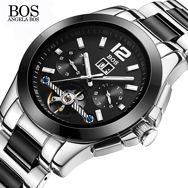 ANGELA BOS Ceramics Stainless Steel Skeleton Automatic Watch Mens Mechanical Waterproof Date Week Luminous Wrist Watches Men angela bos ceramics stainless steel skeleton automatic watch mens mechanical waterproof date week luminous wrist watches men