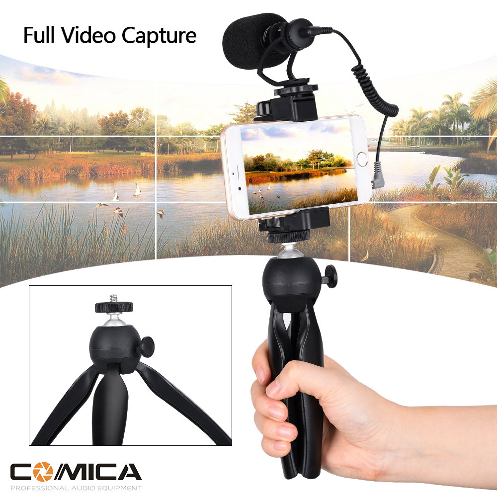 COMICA Smartphone Video Rig with Cardioid Directional Video Mic Portable Microphone with Tripod for iPhone 5