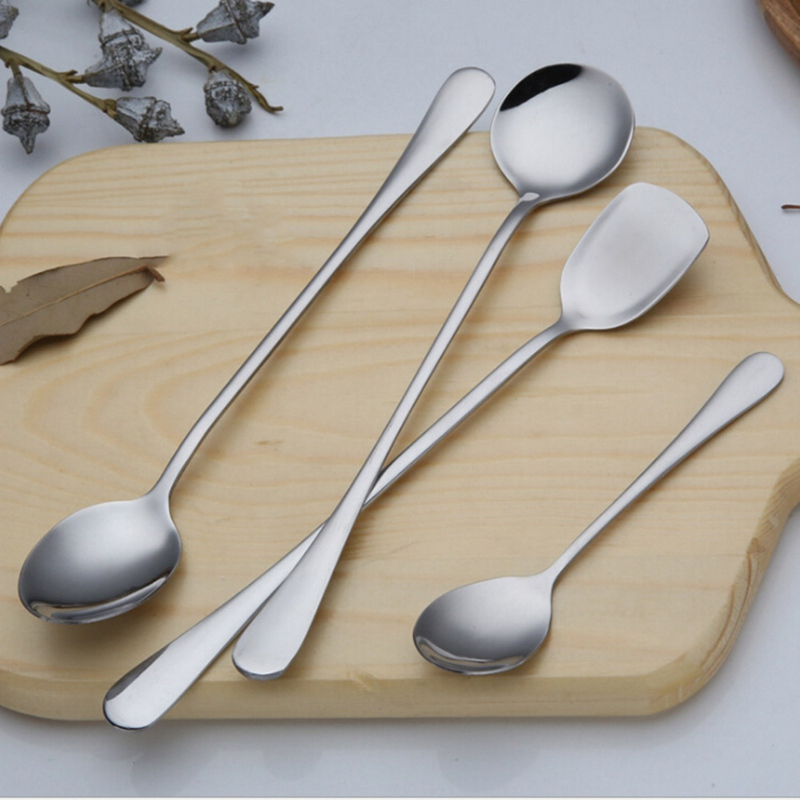 Hot Sale Stainless Practical Steel Coffee Spoon With Long Handle Ice Cream Dessert Tea Spoon Kitchen Silver Color Spoon