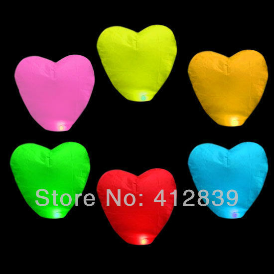 Free Shipping Different Color Heart Wishing Lamp Chinese Sky Lantern Wishing Light with Free Shipping 30Pcs/Lot