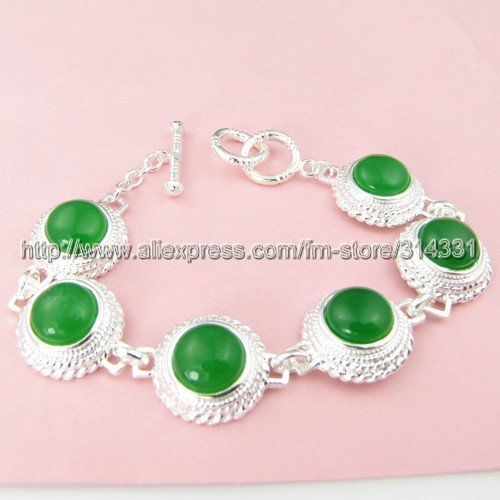 Mix wholesale Three layers restoring ancient ways spherical silver edge emerald bracelets agate jade 925 silver ornaments