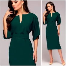 Women Casual Elegant Office Dresses Female Sexy  Knee-Length Burgundy Dress