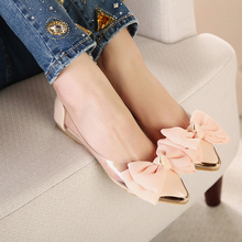 купить 2015 New Spring Summer Sweet Women Flats,Pointed Sequined Toe with Big Bowtie Shoes for Women,Casual Shoes Free Shipping дешево