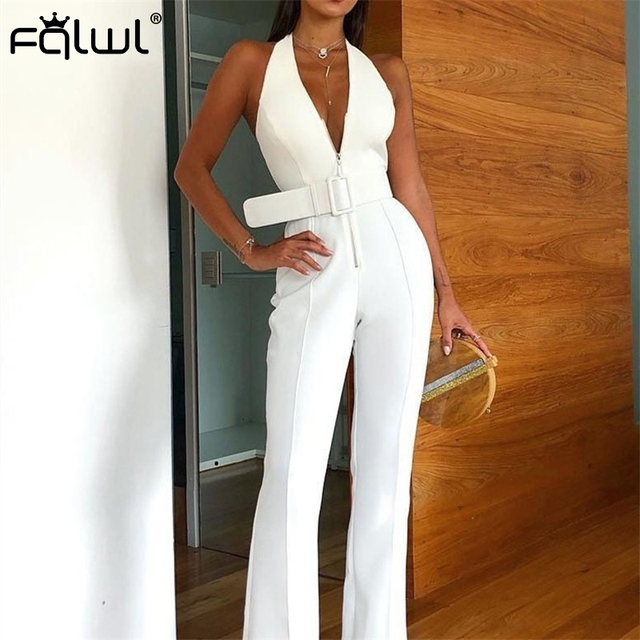 FQLWL Halter Wide Leg Sexy Bodycon Summer Jumpsuit Women Overalls Sashes Backless White Skinny Rompers Womens Jumpsuit Female 2