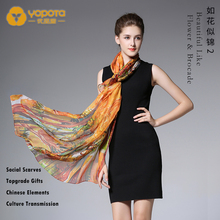 Yopota brand new silk luxury scarves chiffon all-matching long shawl high end scarves topgrade gift free shipping free shipping r134a high grade refrigerant table automobile air conditioner