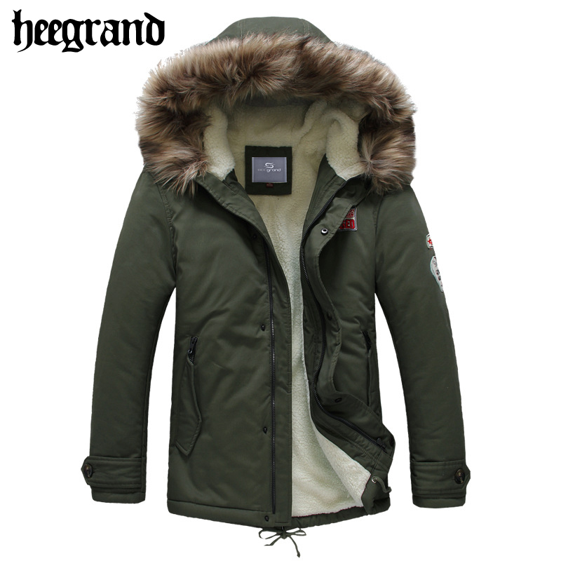 HEE GRAND 2017 New Men Casual Lamb Wool Parkas Male Warm Hooded Cotton Coats Man's Thick Solid Epaulet Winter Jacket MWM1466 free shipping winter parkas men jacket new 2017 thick warm loose brand original male plus size m 5xl coats 80hfx