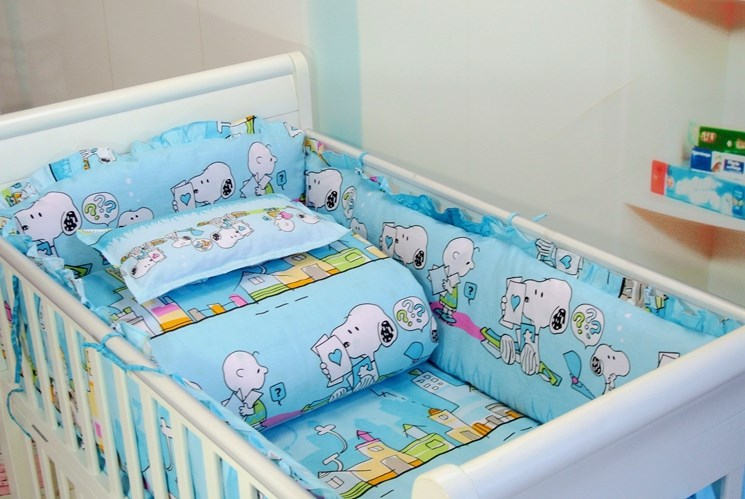 Фото Promotion! 7pcs baby bumper sheet crib bed linen home nursery sets (bumper+duvet+matress+pillow). Купить в РФ