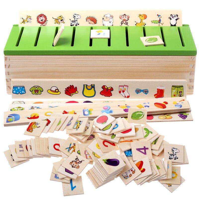 Montessori educativos rompecabezas juguetes para los niños de inteligencia de aprendizaje rompecabezas de madera criatura de dibujos animados 3D rompecabezas