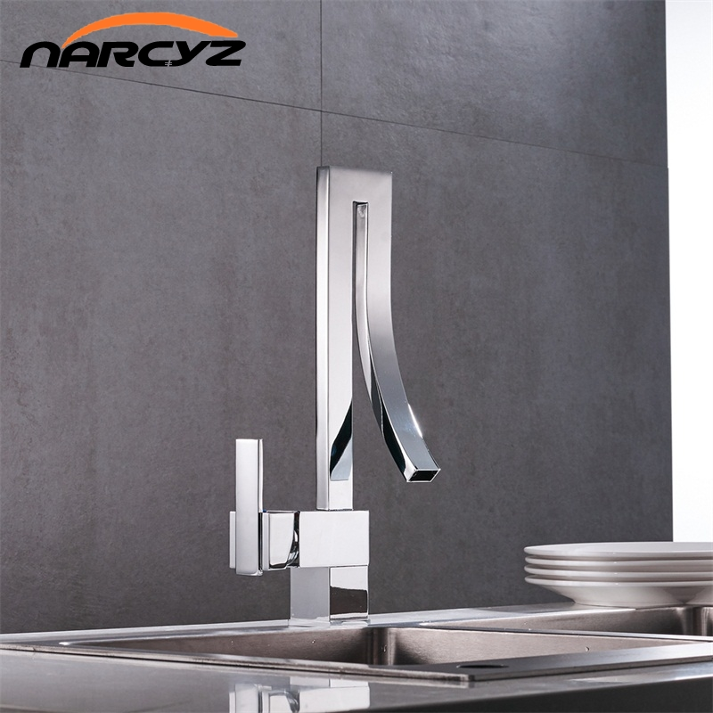 Free Shipping Hot Selling Design Single Handle Waterfall Chrome Basin Faucet Tap Hot Cold Bathroom Faucet