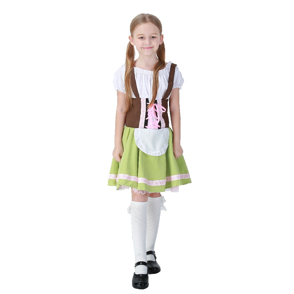 Costumes Kids Cute Girl Brown Top and Cyan Skirt National Costumes Oktoberfest Event Cosplay Costumes Stage Performance Costume
