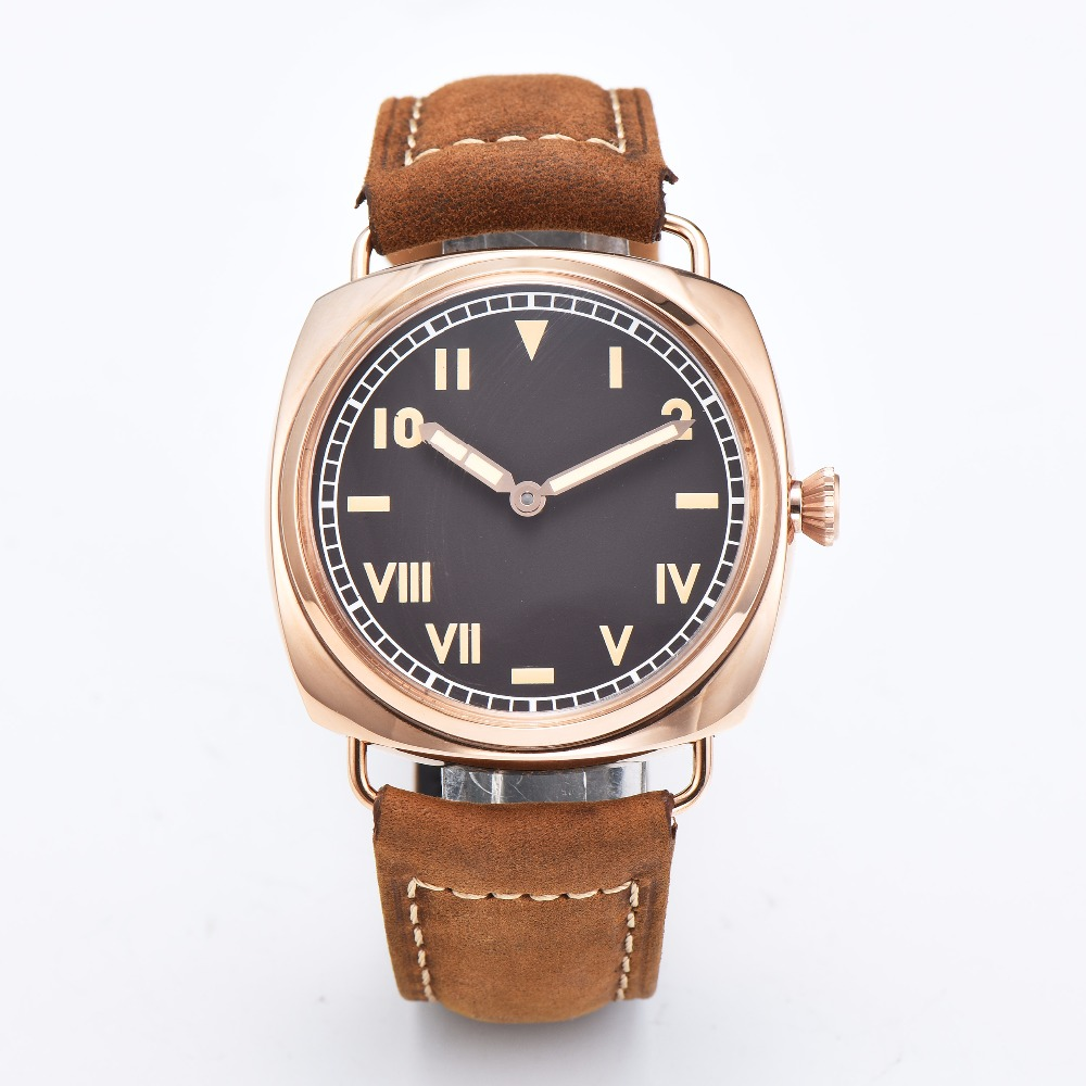PARNIS 47mm watch gold polished 316L stainless steel seagull movement manual winding machinery 6497 PVD high quality leather 20