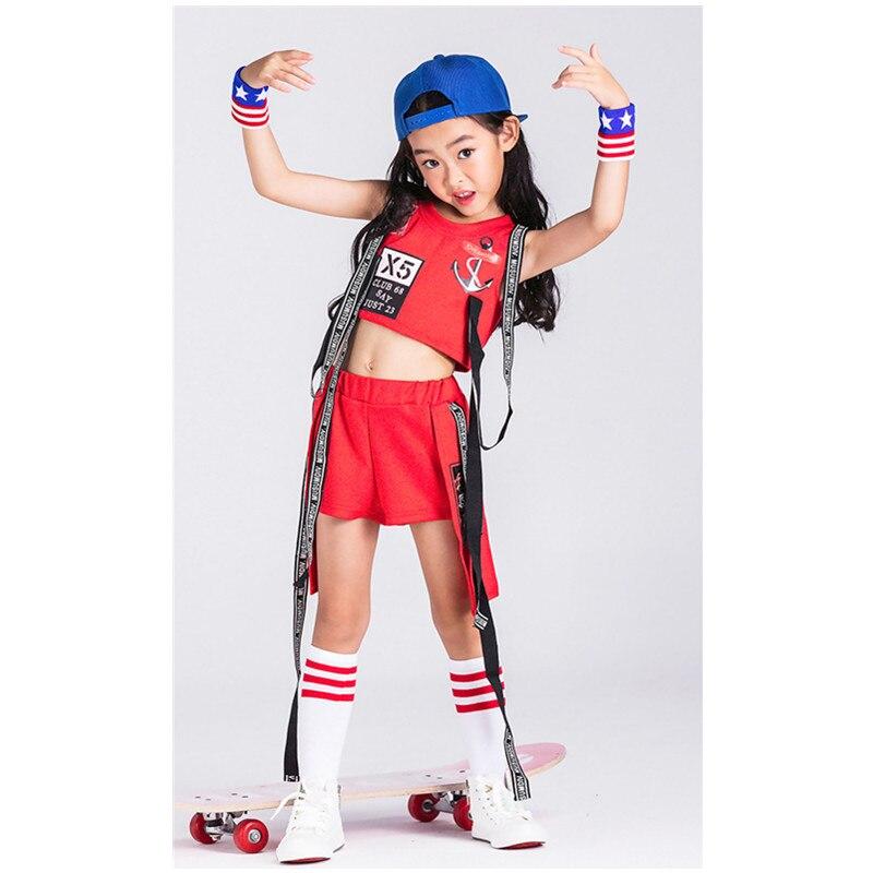 New Children jazz Dance Dress Sets Girls hip-hop performance Alphabet Red Clothes Girls Halloween Party Clothing