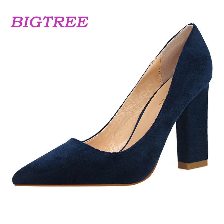 19995500e93c6 US $16.08 |BIGTREE Marke Elegante Pumps Frauen 2018 Frühling Grün Blau  Heels Block Ferse Hochpumpen Platz Büro Schuhe Scarpin Valentine Schuhe in  ...
