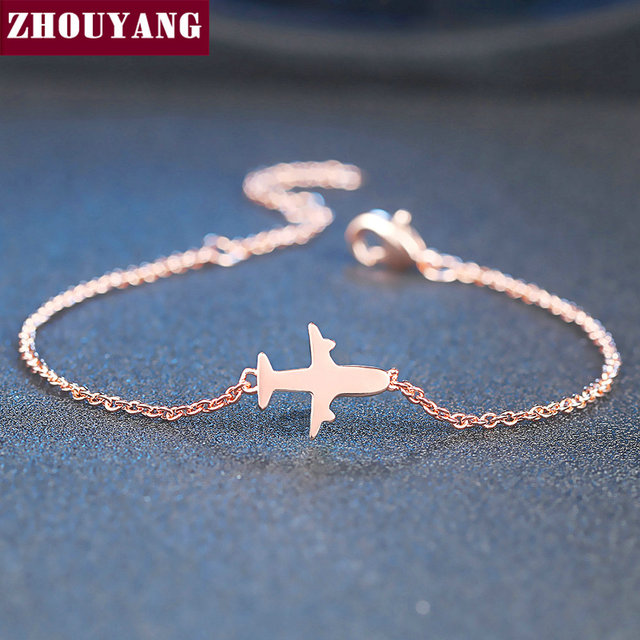 ZHOUYANG Bracelet For Women Simple Style None Stone Little Plane Fly Higher Rose Gold Silver Color Gift Fashion Jewelry DZH002