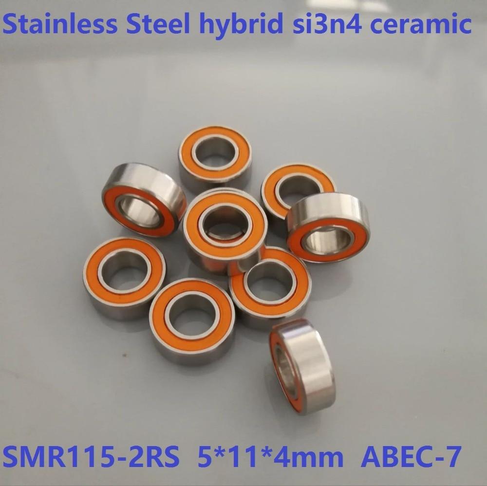 6pcs/10pcs SMR115-2RS SMR115RS 5x11x4 mm ABEC7 Stainless Steel hybrid si3n4 ceramic bearing fishing reel bearings 5*11*4 10pcslot mr115 si3n4 full ceramic ball bearing 5x11x4 mm miniature ceramic deep groove ball bearings 5 11 4 fishing reel