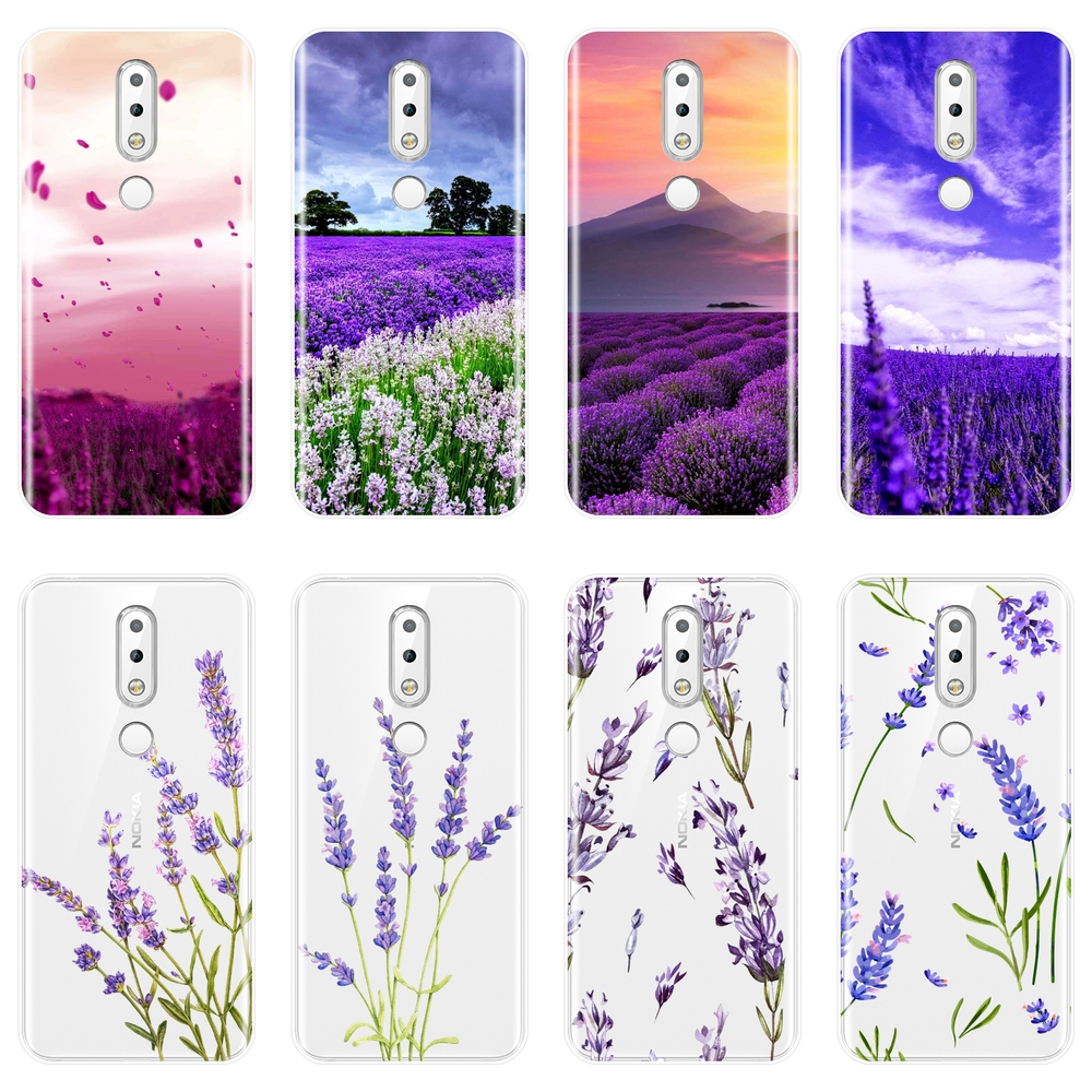 Soft <font><b>Silicone</b></font> Phone Case For <font><b>Nokia</b></font> 2.1 3.1 5.1 <font><b>6.1</b></font> 7.1 <font><b>Plus</b></font> Purple Flower Lavender <font><b>Back</b></font> <font><b>Cover</b></font> For <font><b>Nokia</b></font> 2.1 3.1 5.1 <font><b>6.1</b></font> 7.1 Case image